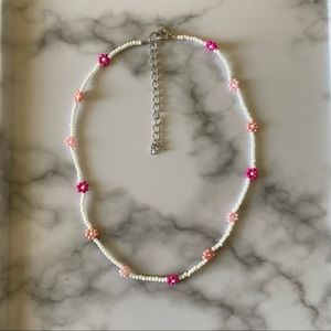 Dainty pretty in pink daisy chain choker necklace